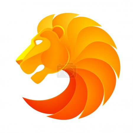 Illustration for Orange lion head volume logo vector isolated on white background - Royalty Free Image