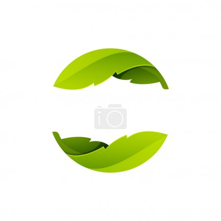 Abstract sphere green leaf logo, volume icon desig...