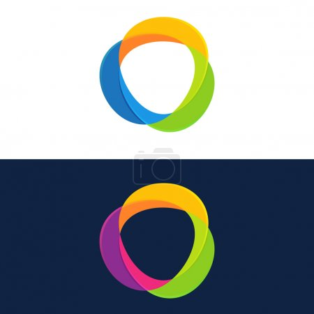 Abstract circle logo set,dark and white side