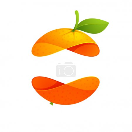 Illustration for Orange fruit sphere with green leaf logo, volume icon design template element - Royalty Free Image