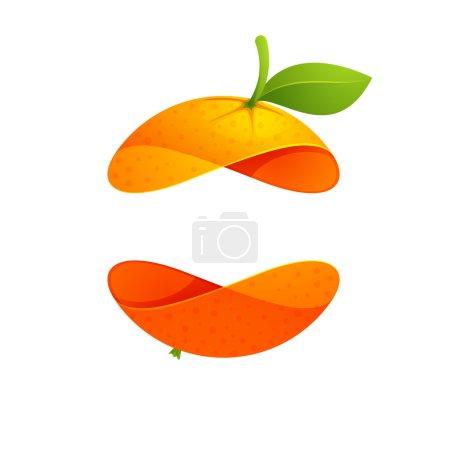 Orange fruit sphere with leaf logo