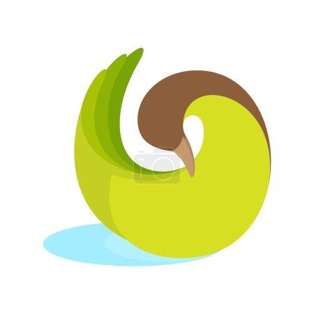 Twist green goose bird logo