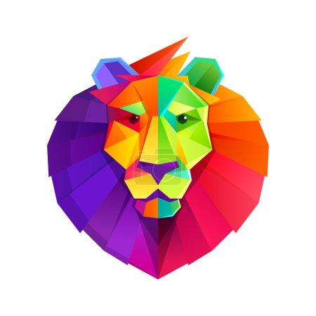Illustration pour Vecteur tête de lion arc-en-ciel faible caractère poly . - image libre de droit