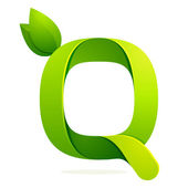 Q letter with green leaves