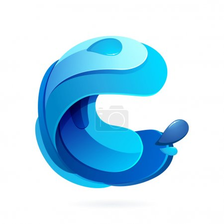 C letter with blue water splash and drops.