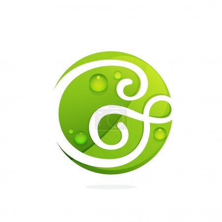 G letter with green leaves and dew drops.