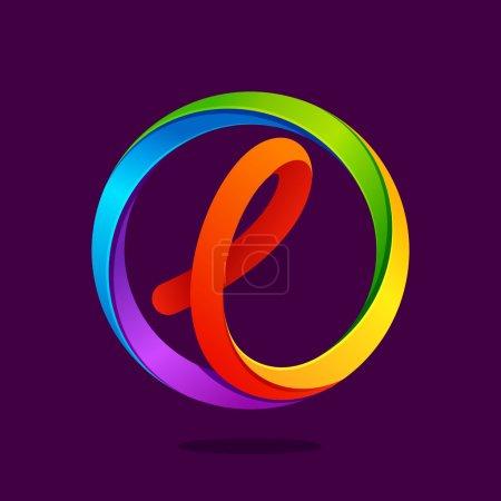 L lettre logo coloré dans le cercle