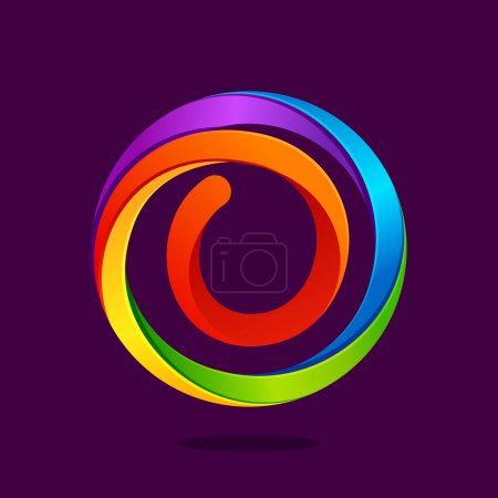 O letter colorful logo in the circle