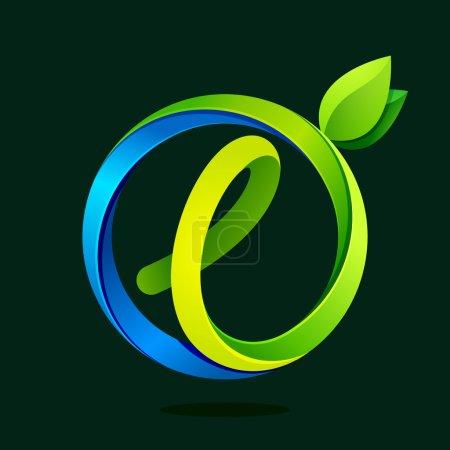 L lettre avec feuilles vertes et vagues d'eau .
