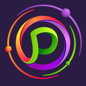 P letter logo with atoms orbits