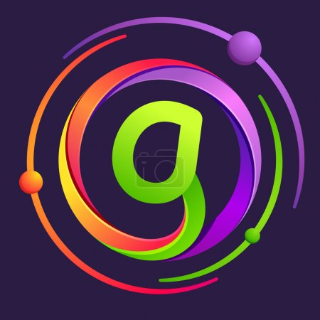 G letter logo with atoms orbits.