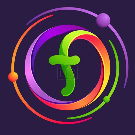 F letter logo with atoms orbits.