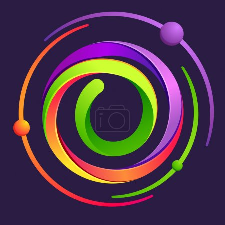 O letter logo with atoms orbits.