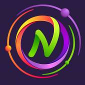 N letter logo with atoms orbits