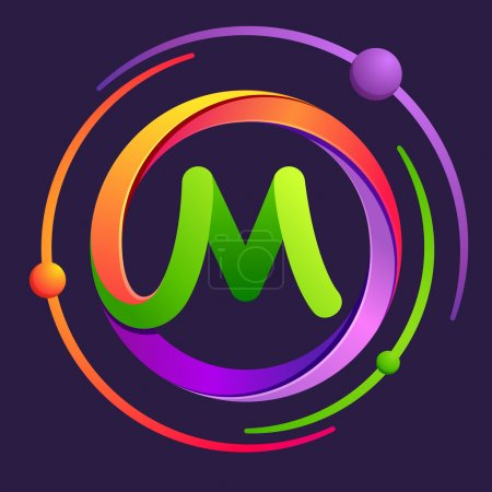 M letter logo with atoms orbits.