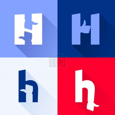H letter with thumb up set.
