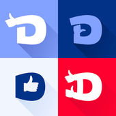 D letter with thumb up set