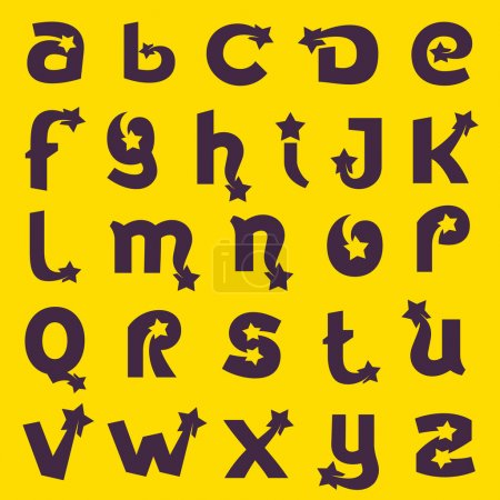 Alphabet letters with star set.