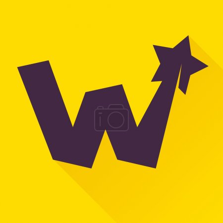 W letter with star.