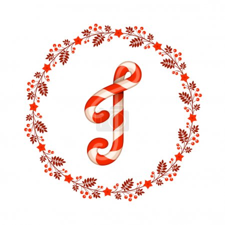 J letter christmas candy with wreath