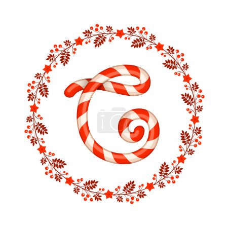C letter christmas candy with wreath