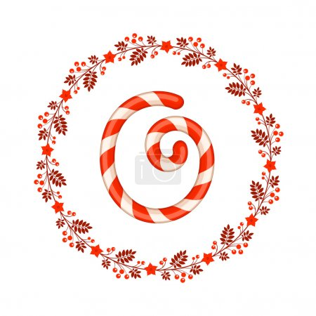 O letter christmas candy with wreath
