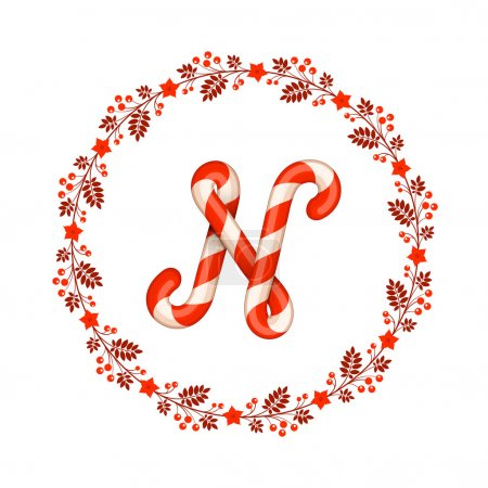 N letter christmas candy with wreath