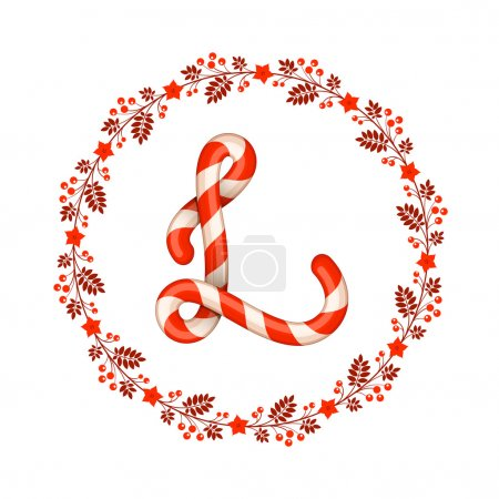 L letter christmas candy with wreath