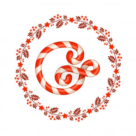 G letter christmas candy with wreath