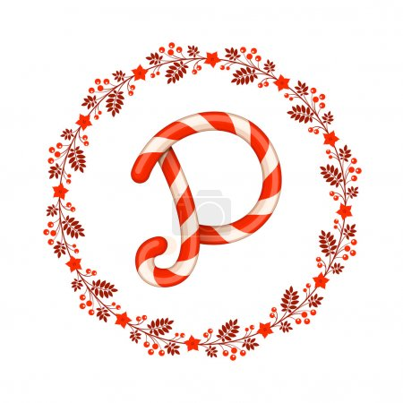 P letter christmas candy with wreath