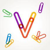 V letter from paper clip alphabet