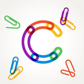 C letter from paper clip alphabet