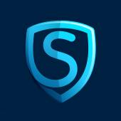 S letter with blue shield.