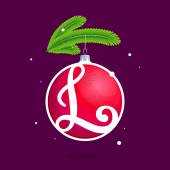 L letter with Christmas red ball and fir branches