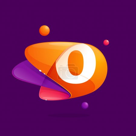 O letter with atoms orbits colorful icon.