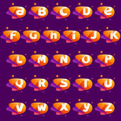 Full alphabet colorful letters with atoms orbits