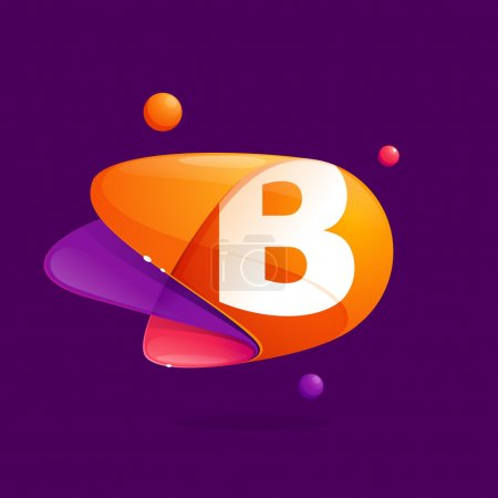 B letter with atoms orbits colorful icon.