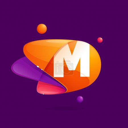 M letter with atoms orbits colorful icon.