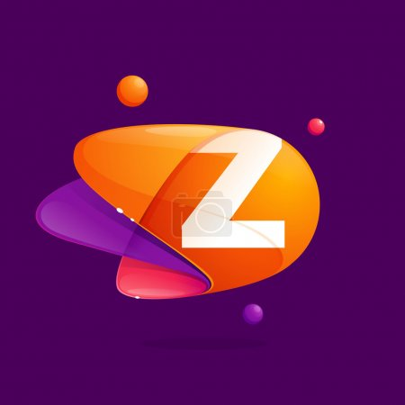Z letter with atoms orbits colorful icon.