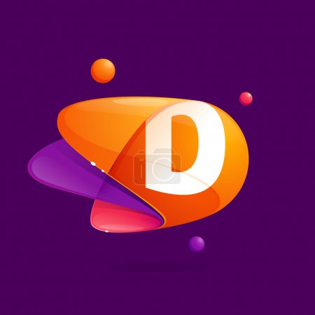 D letter with atoms orbits colorful icon.