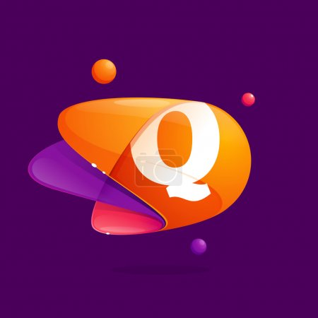 Q letter with atoms orbits colorful icon.