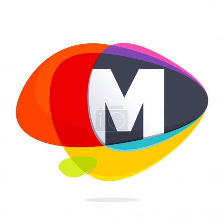 M letter with ellipses intersection logo.