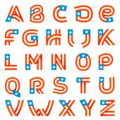 Alphabet letters set with american stars and stripes