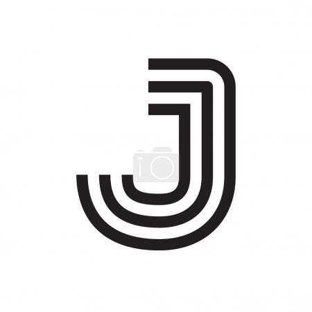 J letter formed by parallel lines.