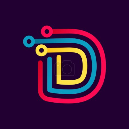 D letter formed by electric line.