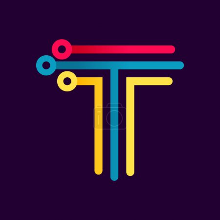 T letter formed by electric line.