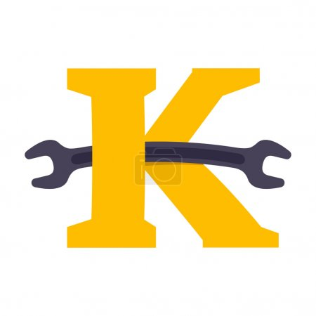 K letter with wrench.