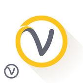 V letter with round line logo