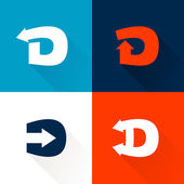 D letter with arrows set