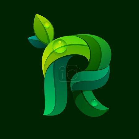 R letter logo formed by green leaves.